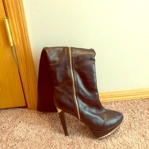 Black leather over the knee boot